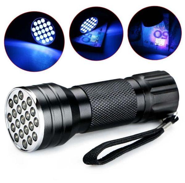 Luce ultravioletta nero 21 LED Torcia UV della luce della lampada della torcia Mini alluminio UV portatile torcia torce torce elettriche di campeggio esterni