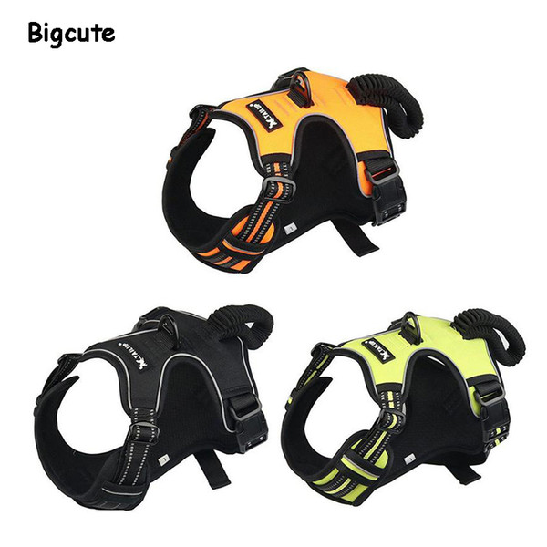 Dog Harness Reflective Oxford Pet No Pull Harness All Weather Service Dog Vest Padded Adjustable Safety Vehicular Lead for Dogs