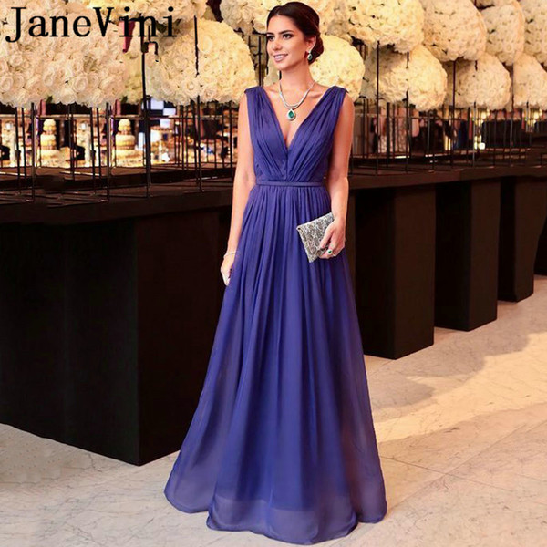 JaneVini Abito Lungo Elegant Formal Evening Dresses Long Deep Purple Chiffon Women Dinner Party Gowns Backless Plus Size Dress