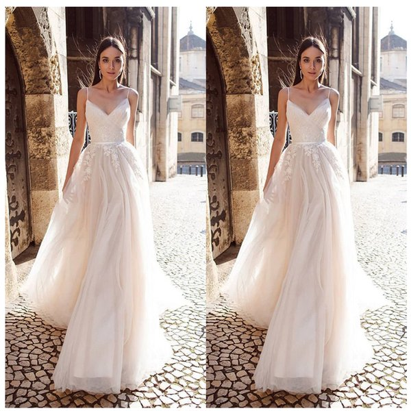 wholesale A Line Organza Wedding Dress 2019 Vestido De Noiva Princess Bridal Dress Backless Spaghetti Straps Beach Wedding Dresses