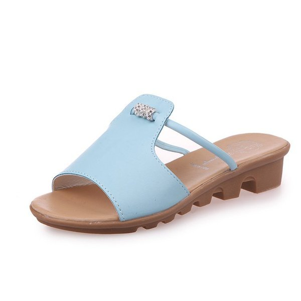 Summer 2019 new Korean version of fashionable 100-hike heel slippers, one-character female sandals, beach shoes, lazy shoes