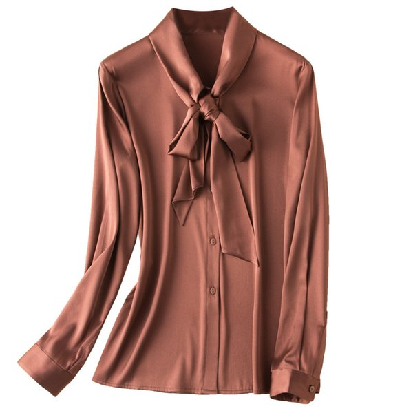 2019 Heavy Silk Shirt Female Long Sleeve Nature Silk Bottom Shirt with Butterfly Knot and Large Ribbon Bowknot Tees