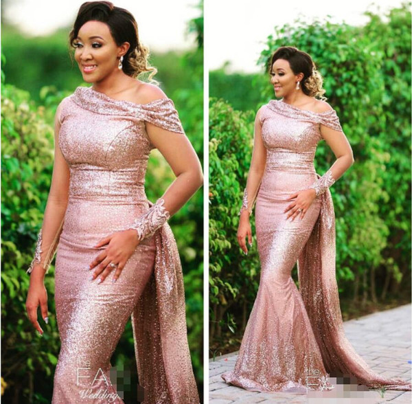 Rose Gold Sequins Bridesmaid Dresses One Shoulder Mermaid Maid of Honor Dresses Sexy Formal Party Evening Prom Gowns GL4691