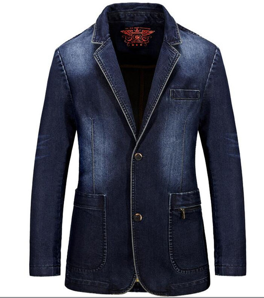 Acheter Denim Casual Blazer Hommes Coton Vintage Costume Veste Homme Blazer Masculino Plus La Taille 3XL Denim Blazer Manteau De $55.84 Du Happy