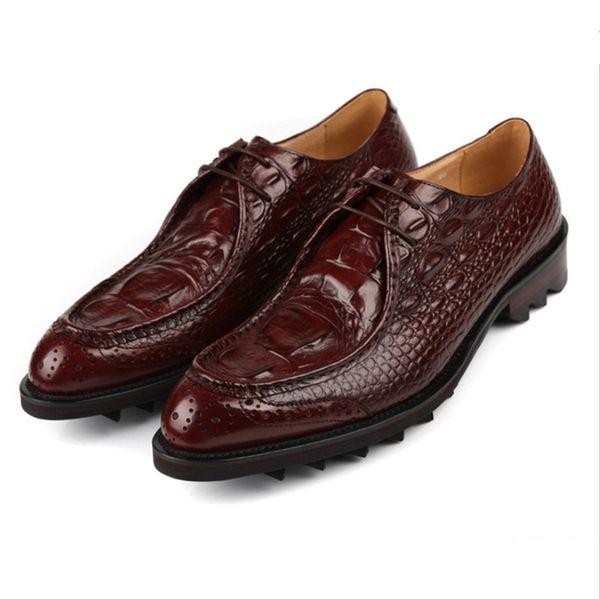 CLORISRUO Timsah Tahıl Siyah / Tan Platformu Erkek Gelinlik Ayakkabıları Hakiki Deri Sosyal İş Ayakkabıları Erkek Balo