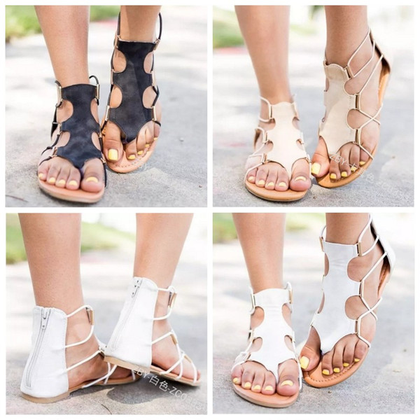 Bohemian Sandalet Düz Topuk Ayakkabı Manuel Boncuk Terlik Sızdıran Parmaklar Ayak Sıkma Kadınlar Yaz Artefakt Renkler Mix 30qyf1