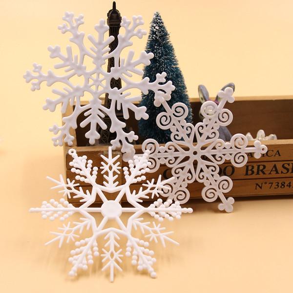 1 paket diy kunststoff weiß gefälschte schneeflocken für weihnachten weihnachtsfeier neue jahr weihnachtsbaum anhänger ornamente fenster dekoration