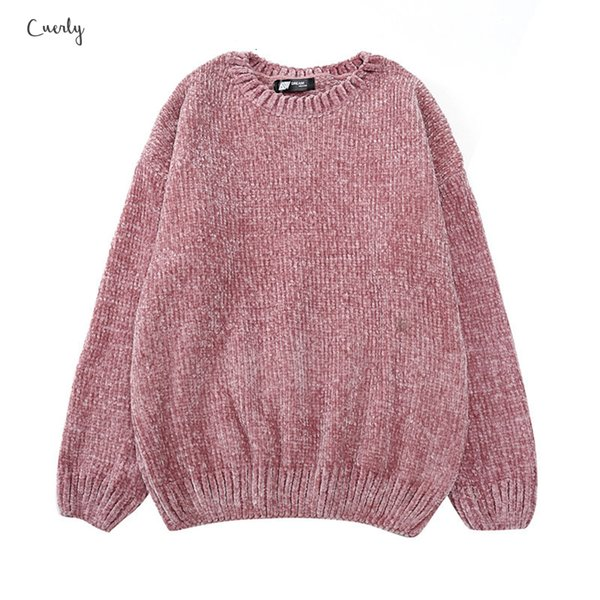 Sweaters Chic Vintage Blouse Gold Velvet Women Knit Ladies O Neck Long Sleeve Chenille Sweaters Drop Shipping