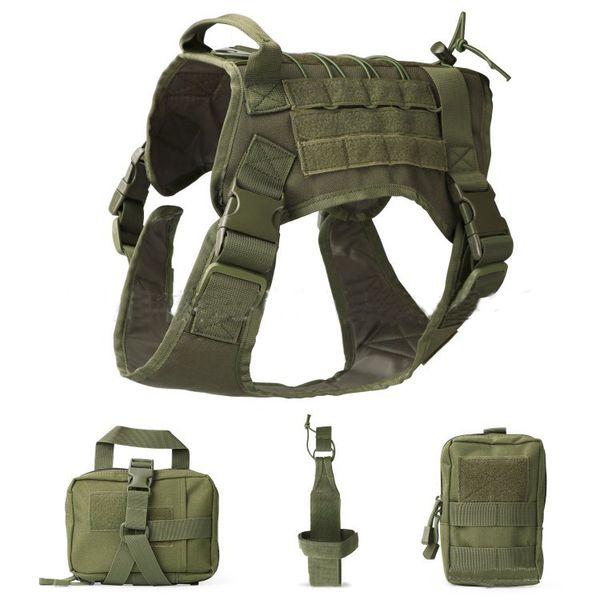 Military Dog Vest Set 1000D Nylon Waterproof Tactical Dog Clothes Harness Outdoor Police Dog Adjustable Combat Vest Suit M87F