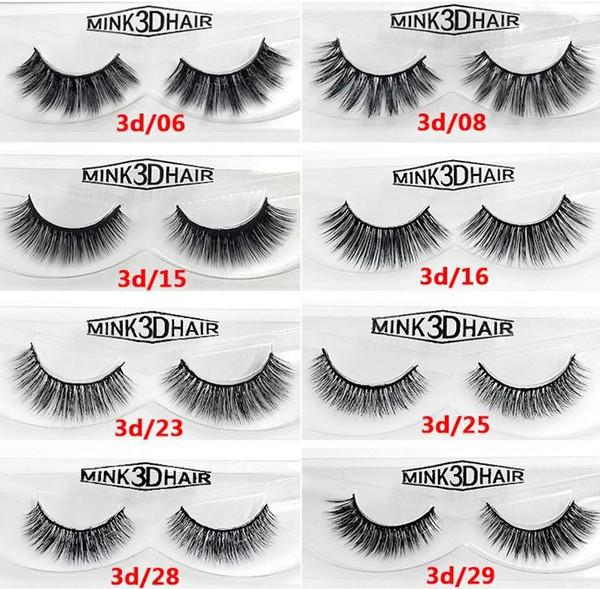 12 styles 2pcs/pair 100% Real Siberian 3D Mink Full Strip False Eyelashes Long Individual Eyelashes Mink Lashes Extension 50 sets DHL
