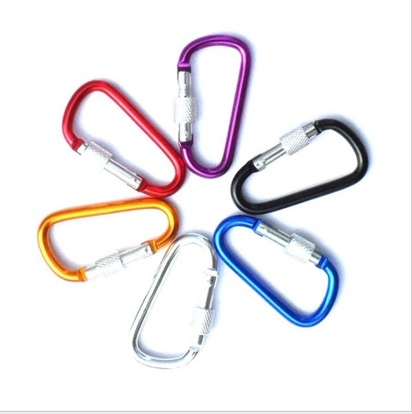 5 6 7cm diameter Colorful Aluminum Alloy D Styles Climbing Button With Lock Carabiner Keychain Hanging Hook Camping Backpacking Buckle