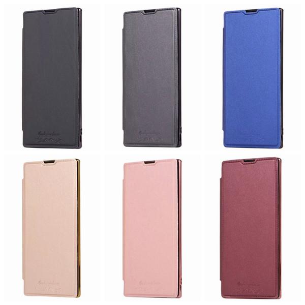 Estuche de billetera de cuero plateado para Iphone 11 XI R Nuevo 5.8 6.1 6.5 2019 Galaxy Note 10 Pro Estuche metálico transparente cromado Funda con tapa Funda sim