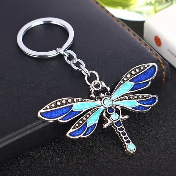 Bella viola libellula ciondolo portachiavi di cristallo donne ragazze bambini portachiavi fascino della catena chiave dei monili