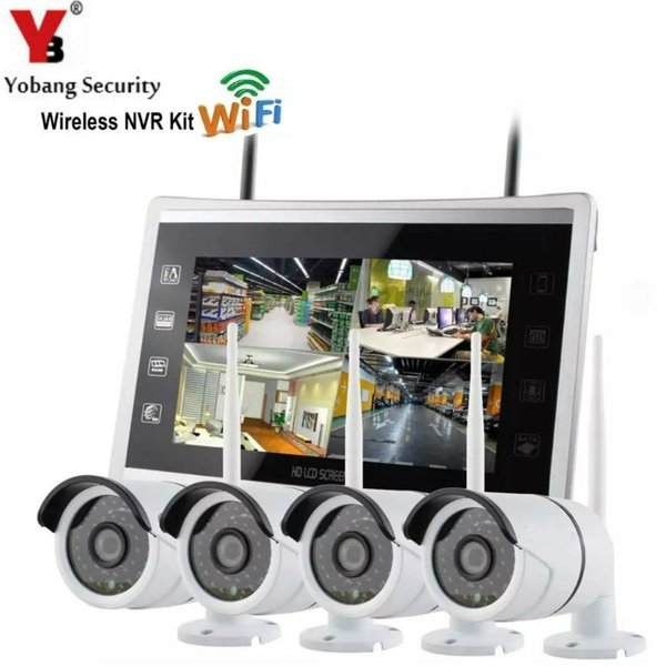Yobang Security WIFI CCTV Camera system NVR Kit 12 Inch Monitor 4pcs 960P Wireless Video Surveillance System For Home Security