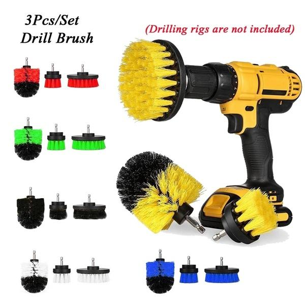3pcs / set perceuse électrique brosse kit de nettoyage brosse de nettoyage de la maison durable baignoire cuisine chaussures de nettoyage de sol brosse outils