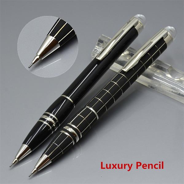 Luxe MB Crayon Star-waiker Crystal top Résine noire et grille métallique Crayon mécanique 0.7mm Fourniture d'école de bureau avec numéro de série
