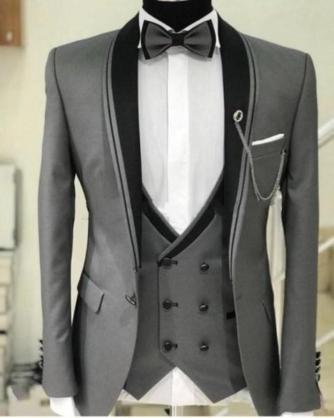 Серый Жених Смокинги Мужские Свадебные Смокинги Шаль Отворот Человек Куртка Блейзер Модный Костюм Из 3 Шт. (Куртка + Брюки + Жилет + Галстук) 522