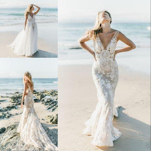 Sommer Backless Strand Boho Brautkleid Plus Size Mermaid Lace Ärmellos V-ausschnitt Tüll Brautkleider mit Abnehmbarem Zug