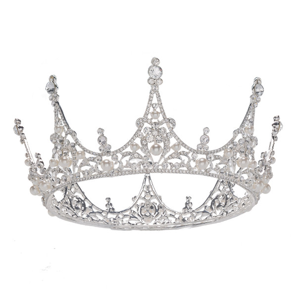 ESERES Designs Round Silver Crystal Crown für Royal Queen Braut-Accessoires Stirnbänder Haarschmuck