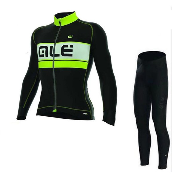 2019 pro team ALE Men Long Sleeve Cycling Jersey set spring Autumn Breathable Bicycle Clothing Ropa Ciclismo Quick Dry Mountain bike tops A9