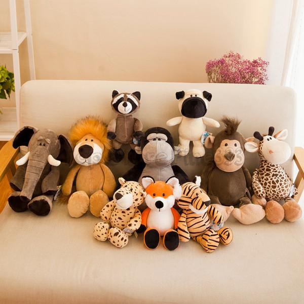 JSQ Animali Pluhs bambola Giocattoli Re Leone Elephant Bulldog Fox tigre scimmia farcite animali di peluche giocattoli per bambini giocattoli