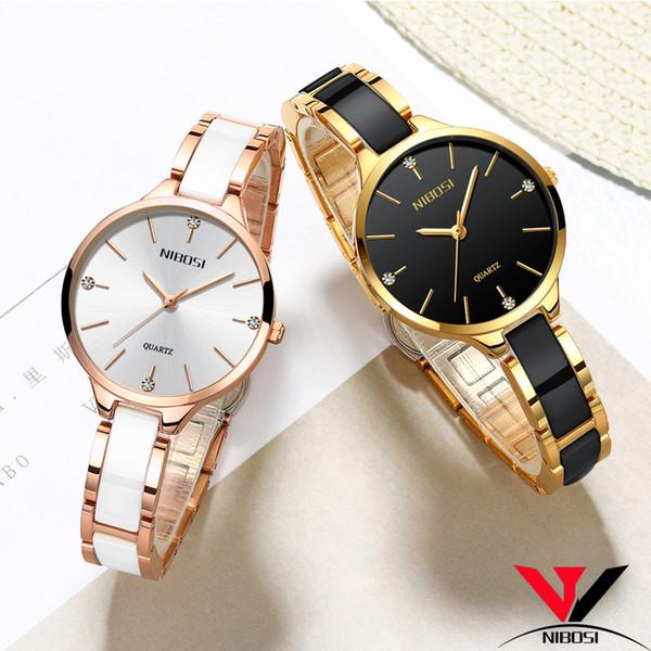 Relojes Para Mujer Montres NIBOSI femmes Bracelet montre dames montre-bracelet Femmes Mode imperméable Casual cristal Cadran en or rose LY191226