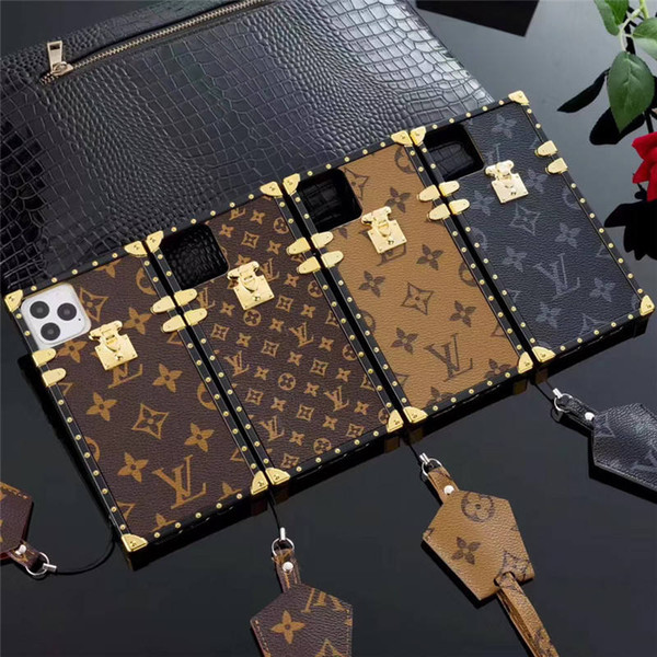 Bling Famous Flower Designer Luxury Phone Case For iPhone 11 pro max X XR XS Max 8 7 Plus S9 S10 note 9 soft Shell Skin Hull +with Lanyard