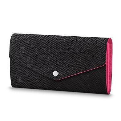 M64322 SARAH WALLET Water ripple schwarz pink Real Caviar Lammfell Chain Flap Bag LANGKETTENBRIEFTASCHEN KEY CARD HOLDERS PURSE CLUTCHES ABEND
