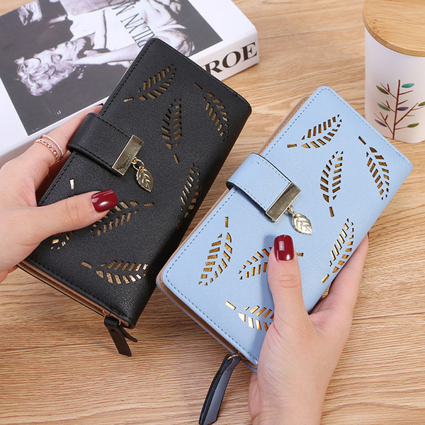 2019 Women Wallet Purse Female Long Wallet Gold Hollow Leaves Pouch Handbag For Women Coin Purse Card Holders Portefeuille Femme