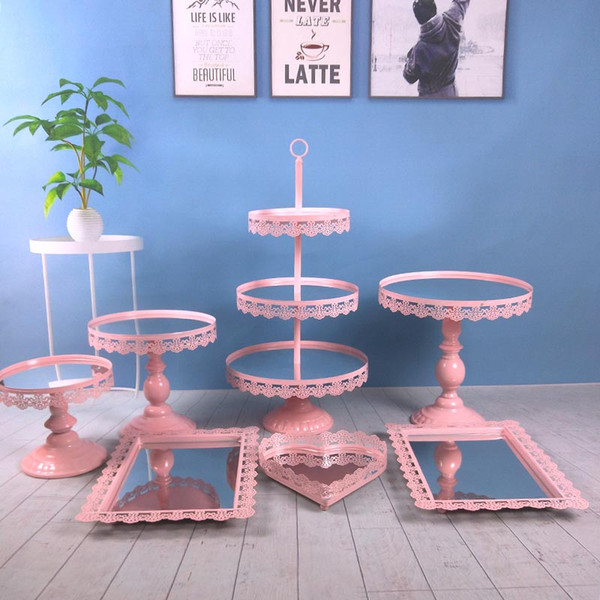 7pcs/ set new design hot sale wedding metal decoration with crystal Acrylic mirror cupcake cake stand