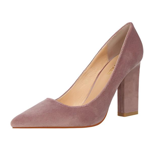 CHEAP BIGTREE Brand Elegant Pumps Women Spring Green Blue Heels Block Heel High Pumps Square Office Shoes Scarpin Wedding Shoes