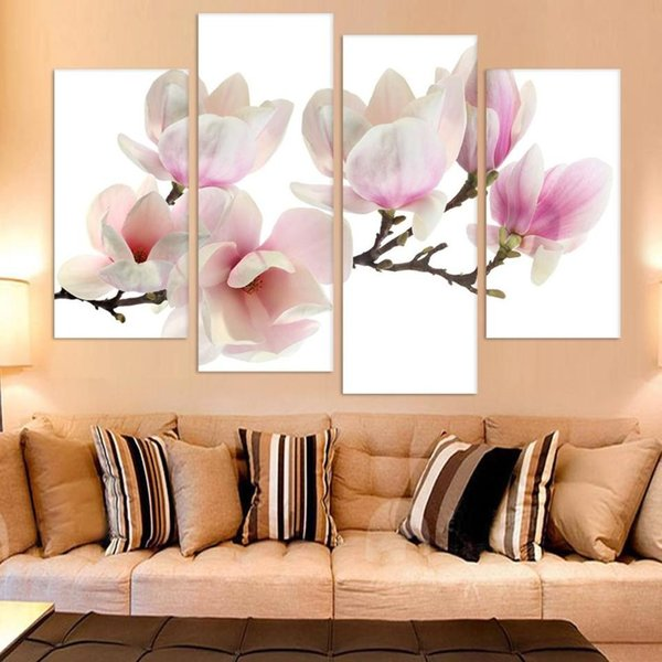 Canvas Art Posters Prints 4 Pieces/Pcs Peach Blossom Flower Modular Painting HD Wall Frame Pictures For Living Room Home Decor