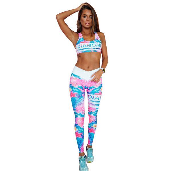 Retro Digital Printed Letters Workout Suit Fitness Tracksuit Women Set Female Sporting Bra Leggings Women Clothing