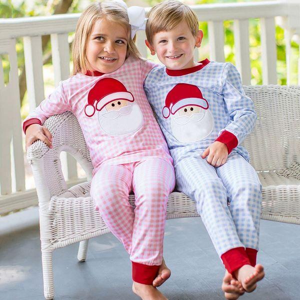 Vêtements pour enfants Tout-petit bébé fille Noël Père Noël Hauts Plaid + Pantalons Pyjama de nuit Tenues bébé automne costume de Noël