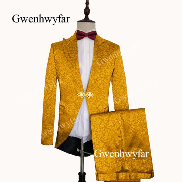 Gwenhwyfar Dark Gold Suits Men 2019 New Custom Made Dragon Jacquard Satin Super Soft Groom Suit For Men 2 piezas (Chaqueta + Pantalones)