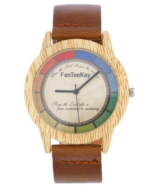 Nueva rueda de color grano de madera reloj de cuarzo Correa ultrafina de las mujeres vintage reloj de pulsera de moda