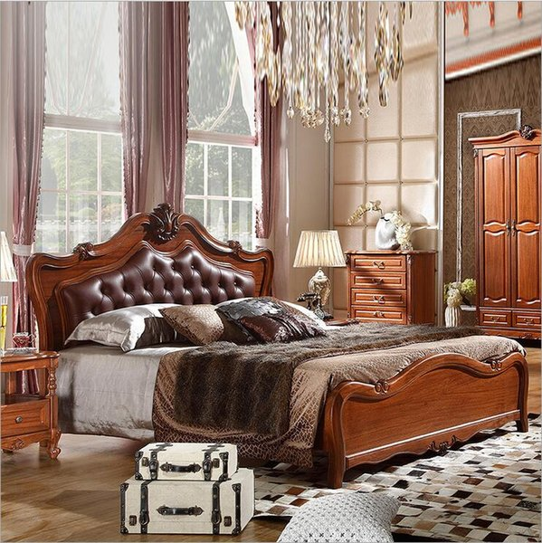 hot selling modern european solid wood genuine leather bed Fashion Carved 1.8 m bed french bedroom furniture o10315