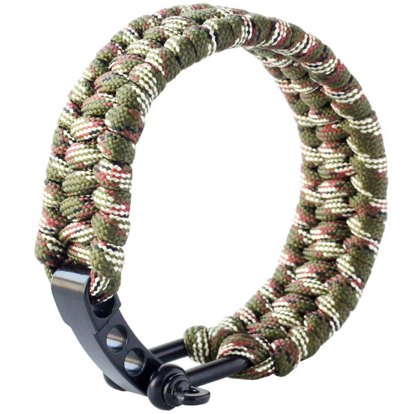 QingGear Handmade Paracord Survival Bracelet with Adjustable Stainless Steel Shackle Parachute Rope Emergency Outdoor Gadgets