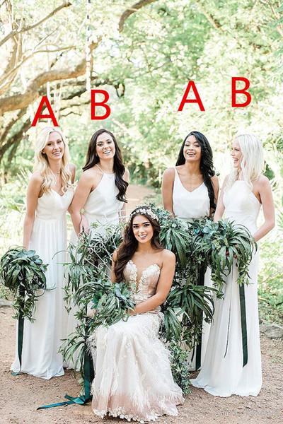 Uma Linha Chiffon Profundo Decote Em V Branco Vestidos de Dama de Honra Diferentes Estilos de Mesmas Imagens a Cores Sul-Africano Partido Prom Dress maid of honor vestidos