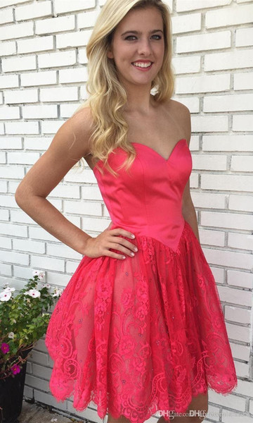 Short A Line Pink Homecoming Dresses Lovely Sweetheart Lace Applique Junior Cocktail Party Prom Gowns Knee Length Corset Evening Gowns