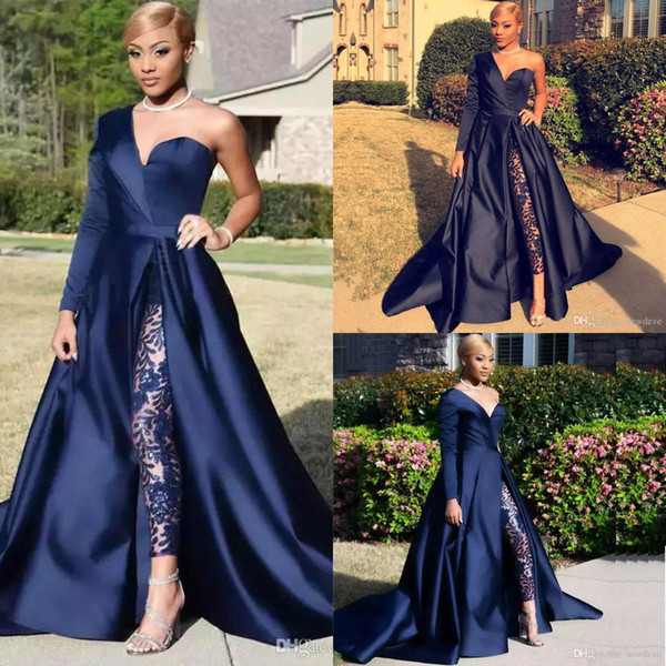 top popular Elegant Jumpsuits Evening Dresses Pants Suit Dark Navy One Shoulder Long Sleeve Split Prom Gowns A-Line Celebrity Party Dress 2020