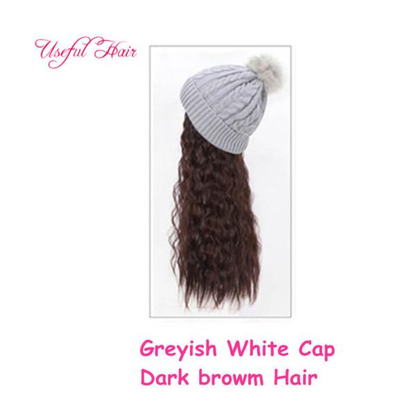 pelo marrón grisáceo casquillo oscuro blanco