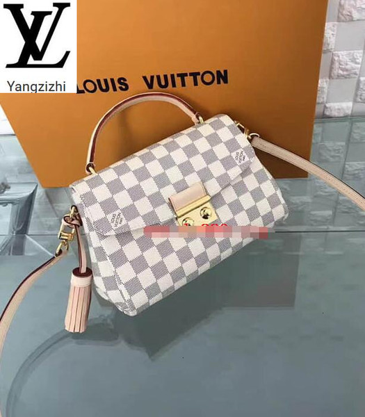 top popular Yangzizhi New N41581 Croisette Handbag White Damier Azur Portable Shoulder Diagonal Cross Bag Handbags Bags Top Handles Shoulder Bags Totes 2020