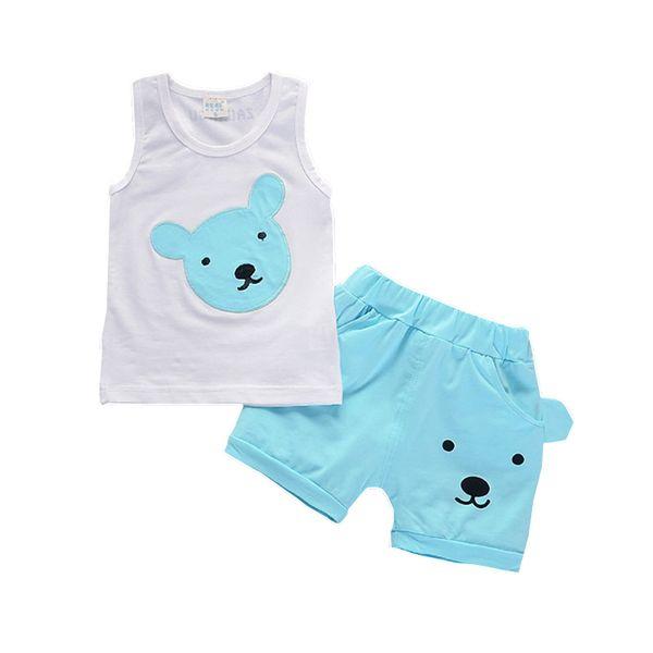 Baby Boys Girls Fahion Tracksuits Children Vest Shorts 2Pcs/Sets Kids Cartoon Bear Active Clothes Toddler Fashion Cotton Sets