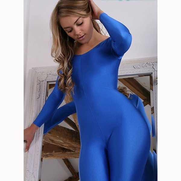 Plus Size Wetlook Lycra Rompers Womens Jumpsuit Silky Shaping Body Suit Babydoll Long Sleeve Bodysuit Overalls Combinasion Femme