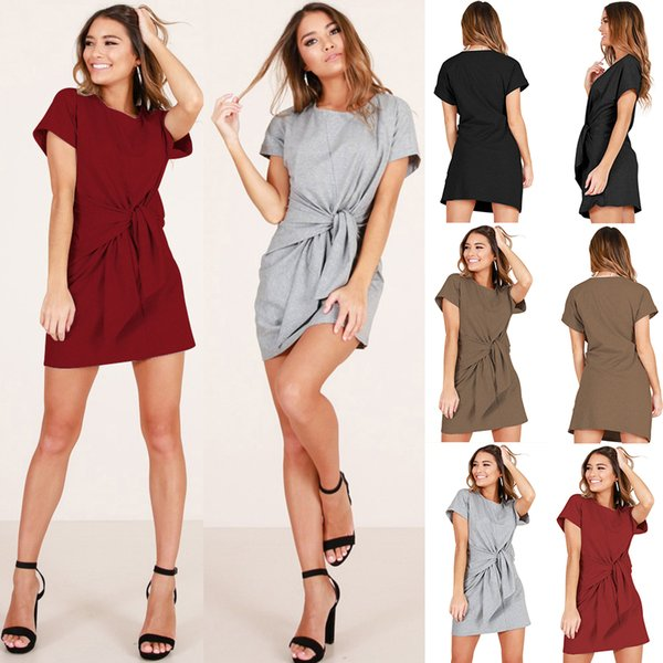 Women dresses Slim dress Belt Women summer clothes Beach dress Fashion 2019 European USA WomenclothesChinafactory Newstyle Hot selling