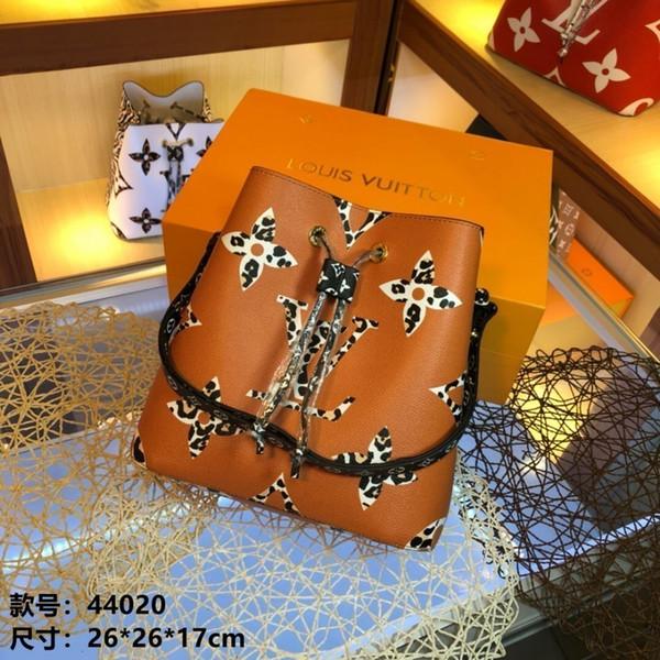 LOU 2019 Новый взгляд, модный мешок ведра с леопардовой строчкой. Регулируемый плечевой ремень дизайн сумка для моды Размер: 26 * 26 * 17см