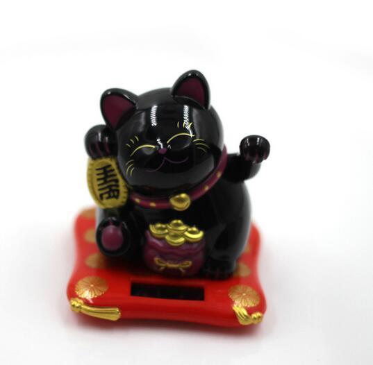 5.5 inch Fashion New Black/White Solar Powered Maneki Neko Welcoming Fortune Cat Lucky For Home Car Hotel Restaurant Decor Craft
