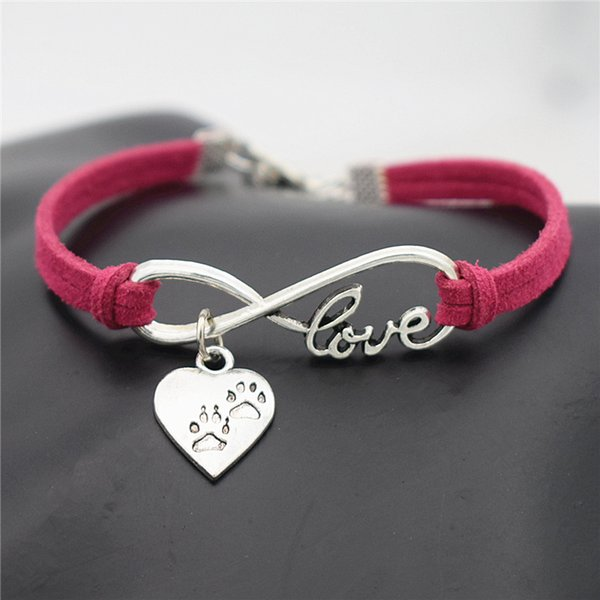 Boho Infinity Love Pet Cat Dog Paw Heart Pendant Bracelets & Bangles for Women Men Red Leather Suede Rope Vintage Jewelry Accessories Bijoux