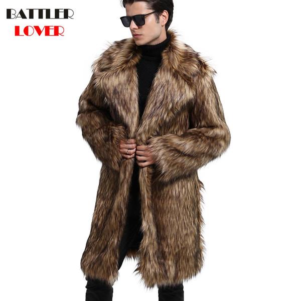 Mens Fur Coat Winter Warm Outwear Coats Faux Fur Men Punk Parka Jackets Hombre Thick Leather Overcoat Genuine  Clothing